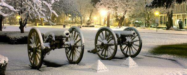 Replica cannons covered in snow at Fort Vancouver National Historic Site