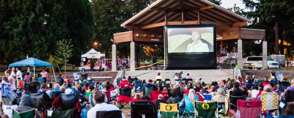 Crowd watching a movie at Marshall Community Park in Vancouver, Washington