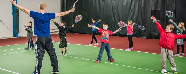 Vancouver Tennis Center instructor teaching junior lessons