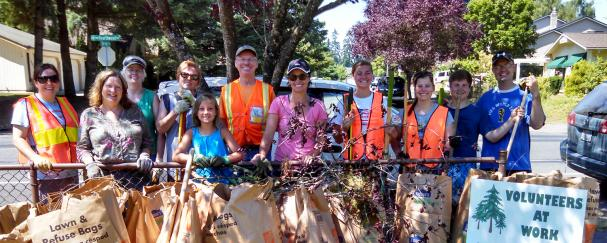 Adopt-A-Park volunteers at Hearthwood Park in Vancouver, Washington
