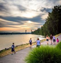 Photo of people walking on the Waterfront Renaissance Trail