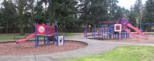 Playground equipment at Bella Vista Park in East Vancouver, Washington