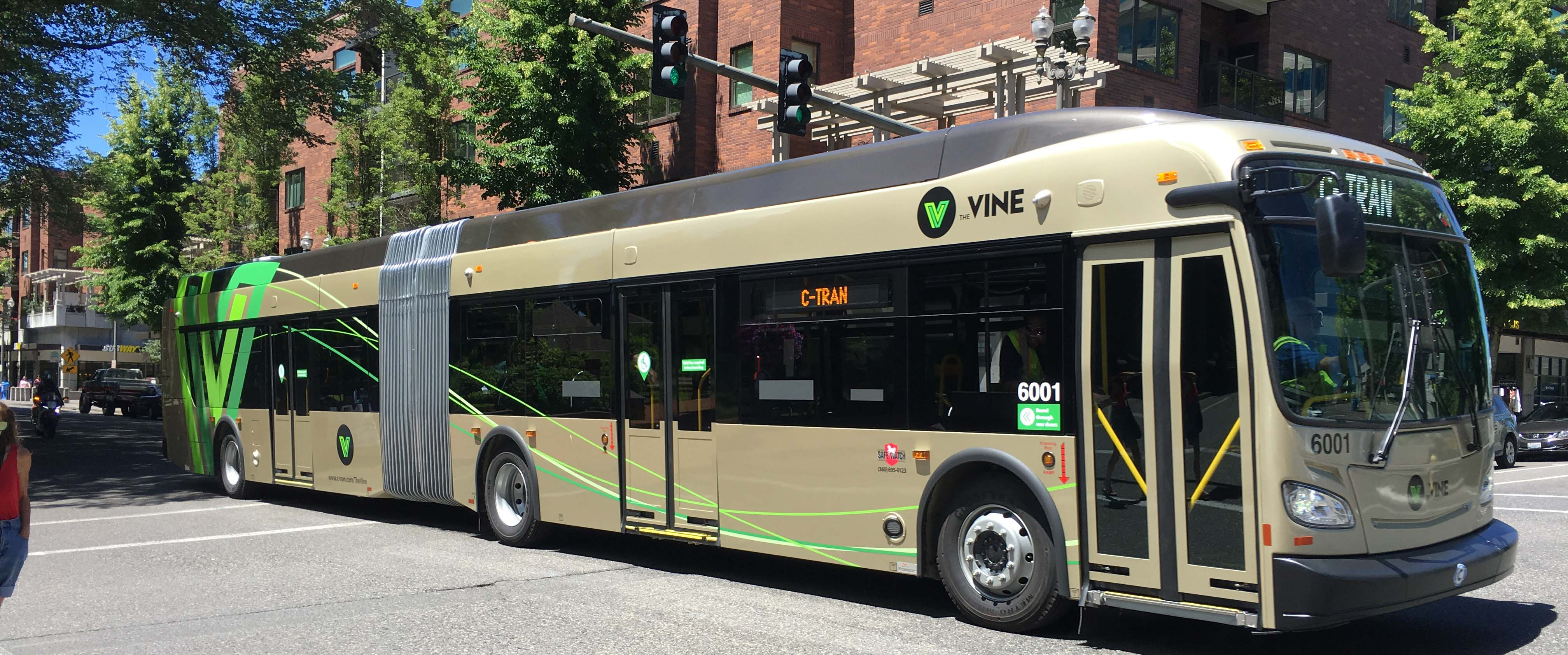 Complete streets CTRAN bus for the VINE City of Vancouver Washington