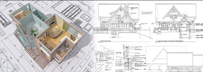 Image Of A Residential Floor Plan And Building Elevation Drawing