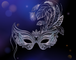 masquerade mask on a purple background