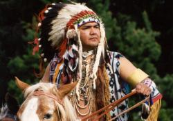 Nez Perce Tribe member on horseback